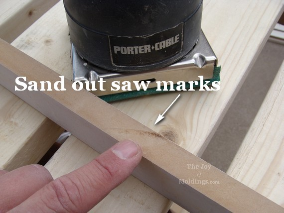 Saw marks on molding.