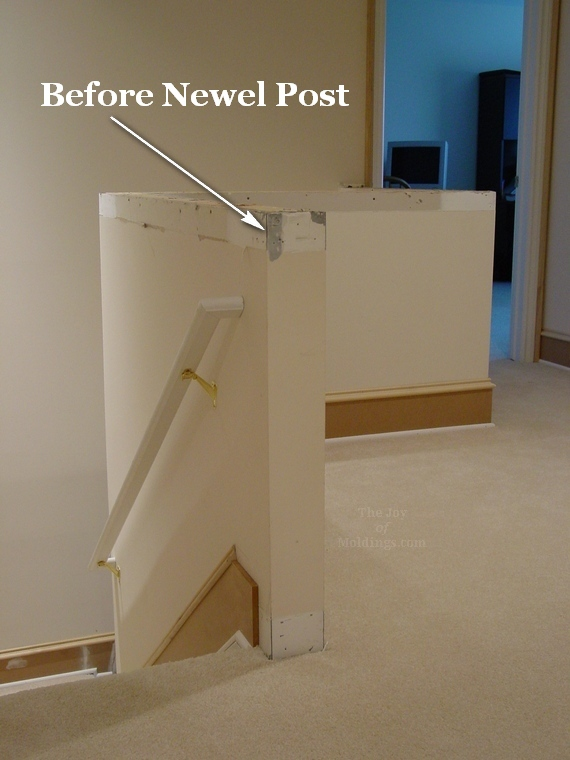 Lighting Basement Washroom Stairs: Before & After: Newel Post On A Half Wall