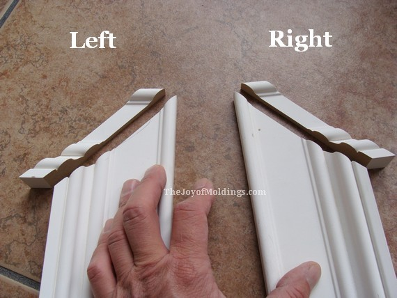left and right side of greek revival door trim