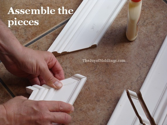 glue the mitered corners of the mdf door trim casing