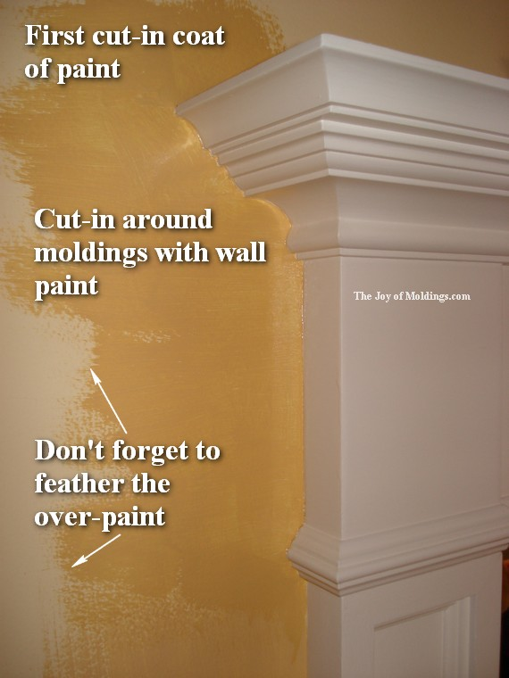 painting walls around moldings