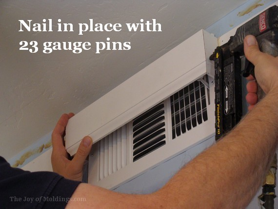 crown molding air vent box nailed with Senco micro pinner