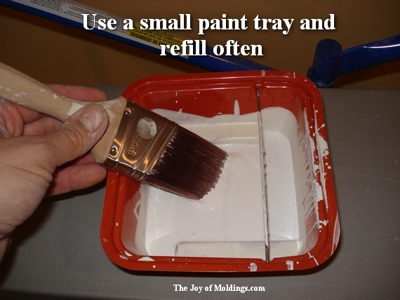 cut-in paint tray for moldins