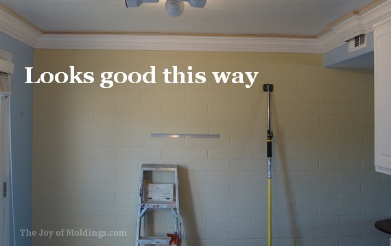 diy kitchen crown molding on brick wall