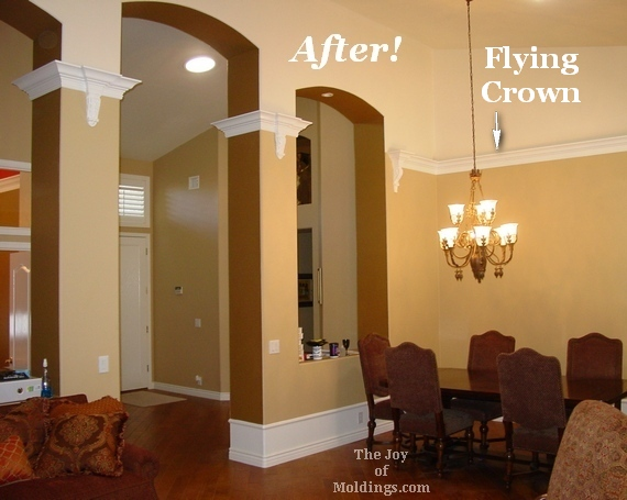 Before after the secret to installing crown molding on for How to paint a vaulted ceiling room