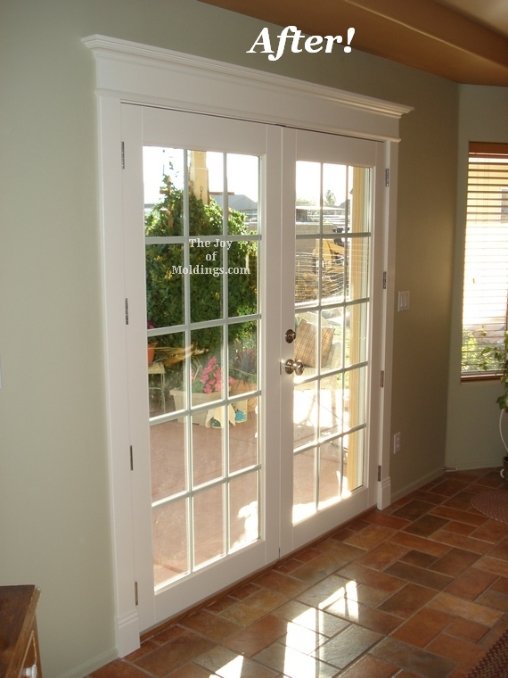 After patio door painted door trim installation the joy for Over door decorative molding