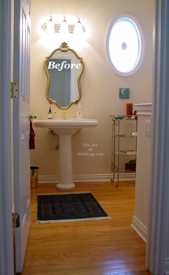 Before after tall guest half bathroom the joy of moldings - Half bath remodel ideas ...