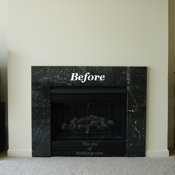 Before diy fireplace mantel the joy of for Fireplace no mantle