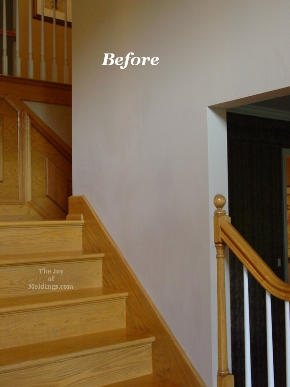 Before Amp After Oak Wainscoting On Stairs The Joy Of