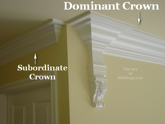 large and small crown moldings in same room