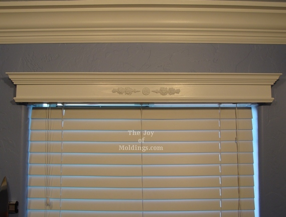 diy window valance box with ornate applique