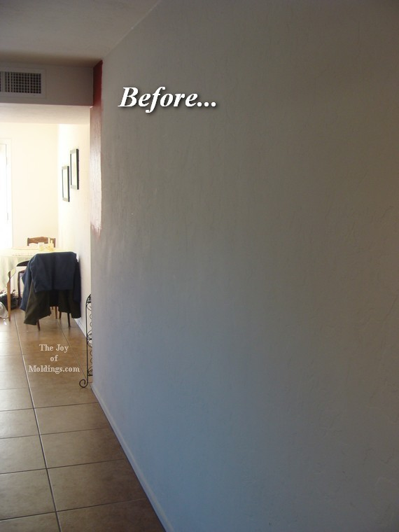 Foyer Accent Wall Ideas : Before picture rail molding red accent wall foyer the