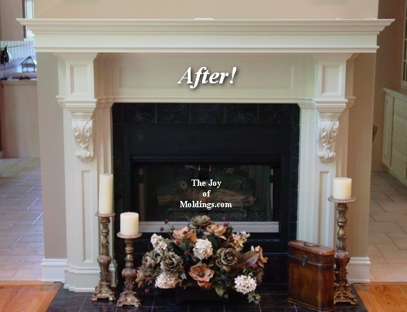 Before after great room fireplace mantel with overmantel the diy fireplace mantel with corbels for great room solutioingenieria Images
