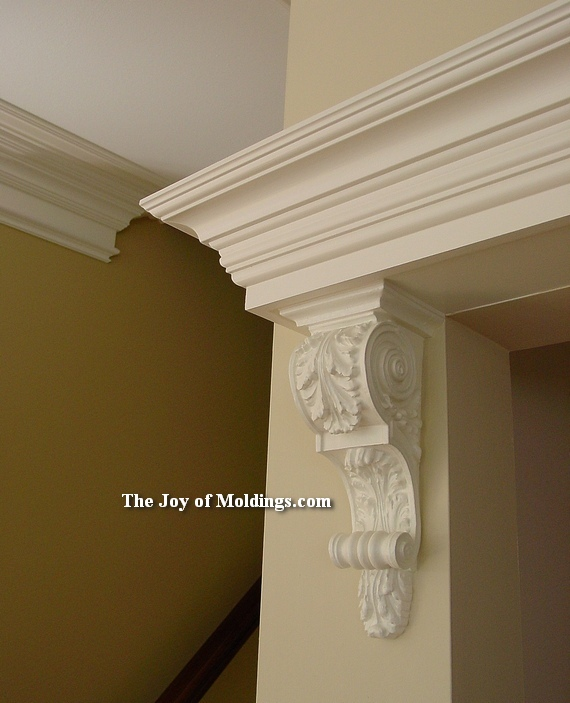 crown molding and corbel over door
