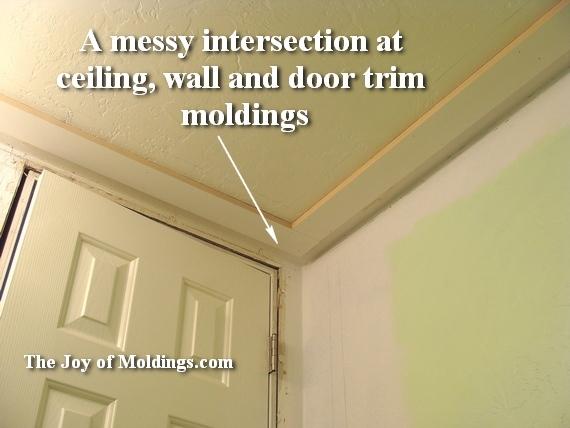 Half bathroom renovation installing the ceiling moldings for Bathroom ceiling molding ideas