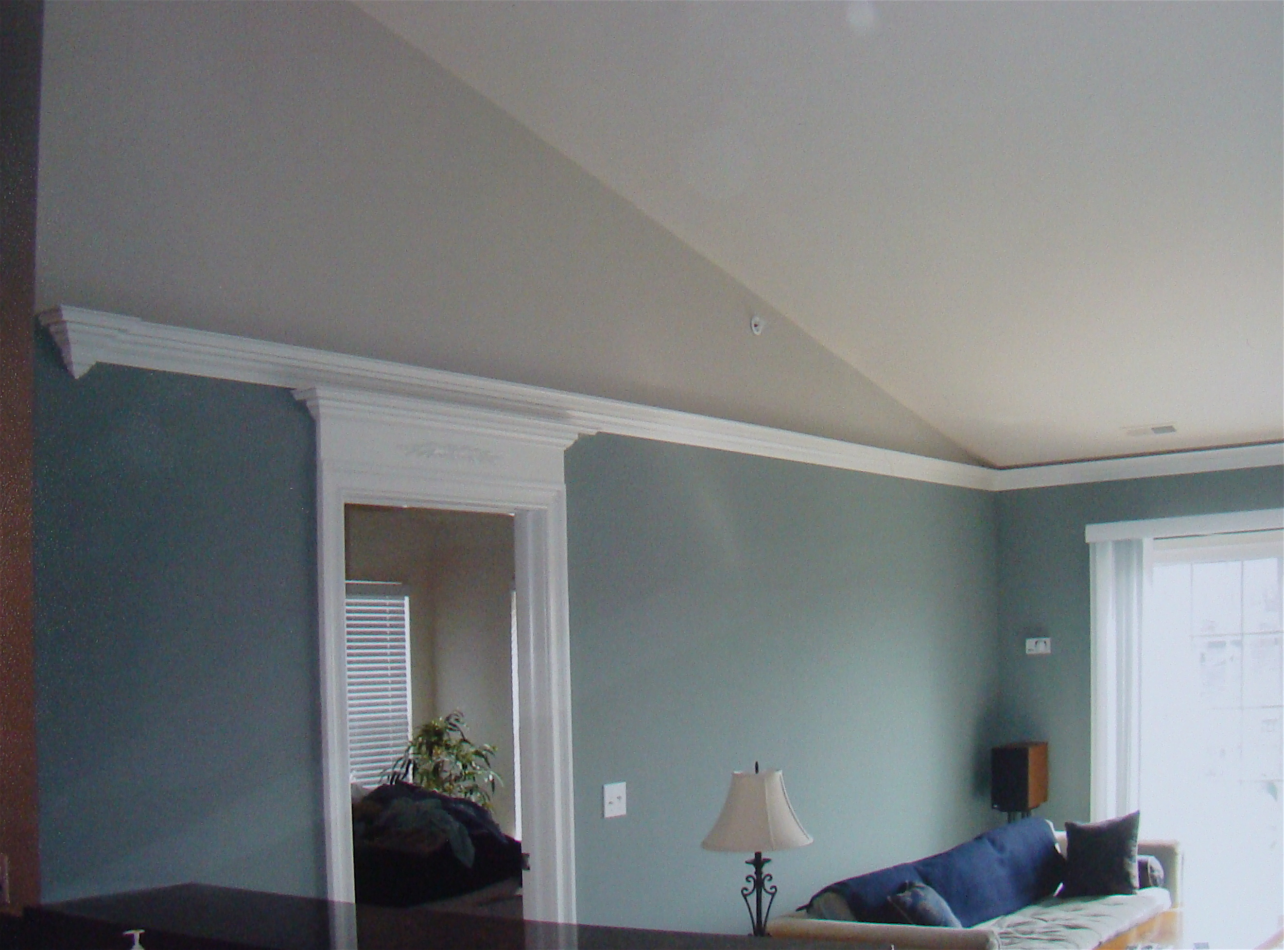 Finial return on flying crown vaulted ceiling condo the for How to paint a vaulted ceiling room