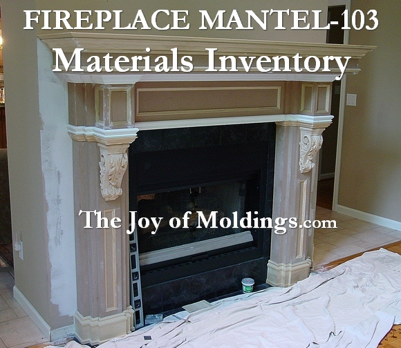 Here is the material list for all of the moldings and MDF I used to make this mantel.