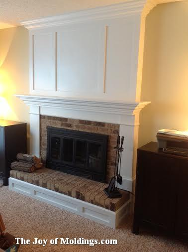 Aaron built this beautiful mdf fireplace mantel over an old brick surround. See the before & afters here.