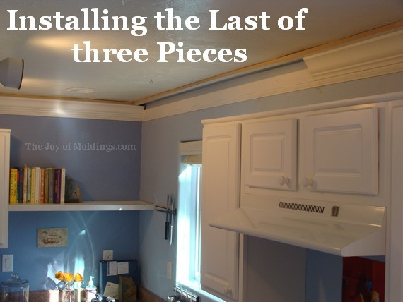 how to put crown molding on kitchen cabinets kitchen crown molding installation the last goes in 9815