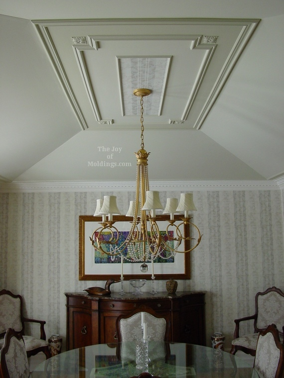 Before And After Tray Ceiling Paint Molding Installation With Rosettes