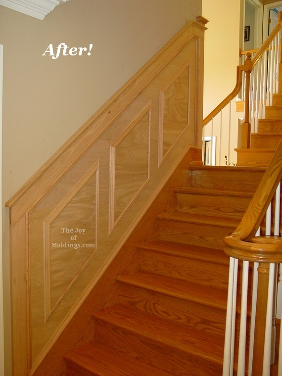 Before After Oak Wainscoting On Stairs The Joy Of Moldings
